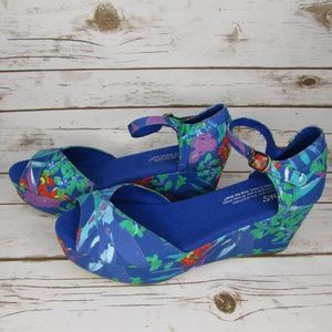 Toms Tropical Floral Platform Wedge Sandal 6.5